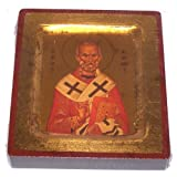Saint Nicholas Icon with sheets of Gold (Lithography) - style IV ( 4x5 inches )