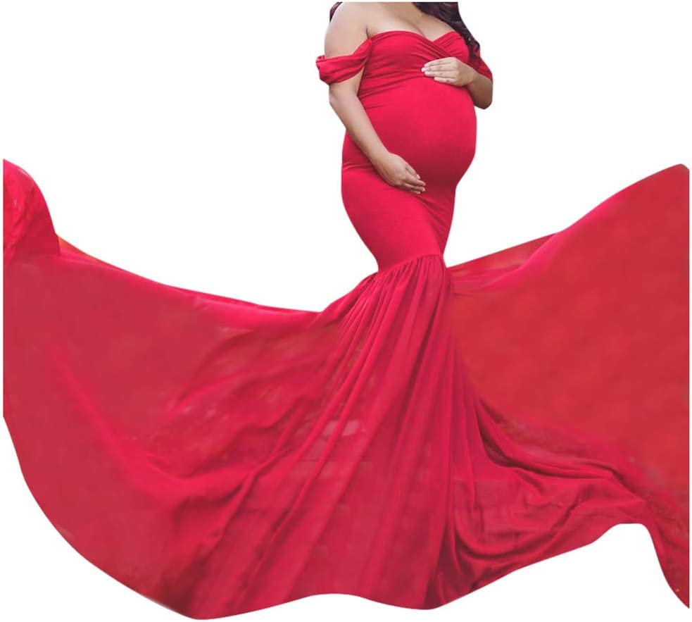 Amazon Com Beyonds Maternity Photography Dress Women Elegant Wrap Pregnant Lace Dress Off Shoulder Sleeveless Maxi Trailing Long Dress For Photo Shoot Wedding Evening Party Gown Red Furniture Decor