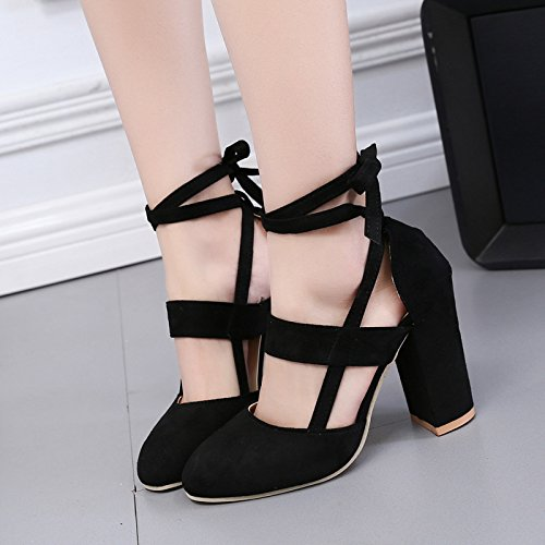 KHSKX-Rough Heeled Heel Shoes New European And American Thick Heels With Thick Heels Large Heels And Single Shoes Forty-one qwHGbOY7s