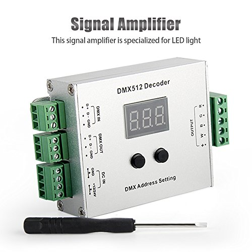 LED Amplifier, DMX 512 Decoder, DMX Dimmer, Signcomplex 4 Channel DMX512 Controller 5A Data Signal Repeater Circuit for LED Strip Lights Lamps DC 12V/24V - Dmx Dimmer Circuit