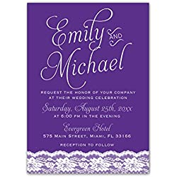 100 Wedding Invitations Purple Violet Lace Design + Envelopes