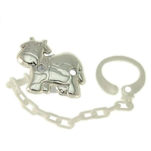Pinza chupete en forma de vaca plata bilaminada cadena ...