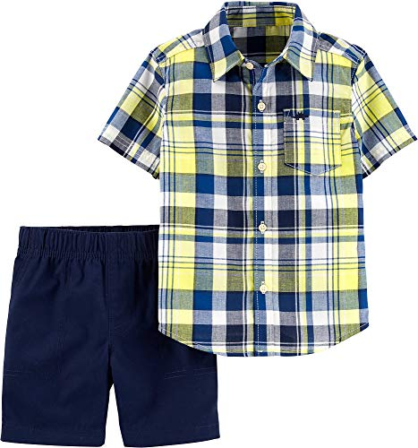 Carter's Toddler Boys Madras Plaid Button Down Shorts Set 3T Blue/Yellow/White]()