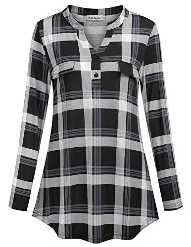 f2d993cd0be5c4 Nandashe Womens 3/4 Roll Sleeve Shirt V Neck Button Down Blouse Loose Tunic  Tops