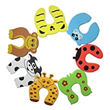 Letop Pack of 7 Child Safety Animal Cushion Hinge Door Stop Stopper / Decorative Rubber Cat Finger Protector / Pinch Finger Guard Security