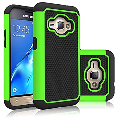 J1 2016 Case,Galaxy Amp 2 Case,Galaxy Express 3 Case,DIOS CASE(TM) Raised Honeycomb Antislip Full-Body Protection Dual Layer Hybrid Rubber Grip Bumper Armor Cover for Samsung Galaxy J1 2016 (Green)