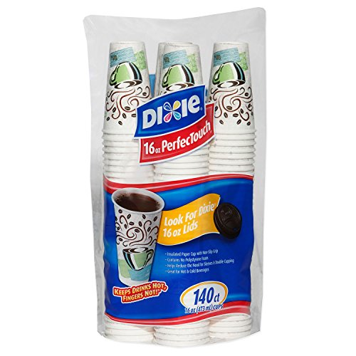 Dixie Perfectouch Insulated Paper Hot Cup, Coffee Haze Design, 140 Count - Perfectouch Coffee Dixie Cup