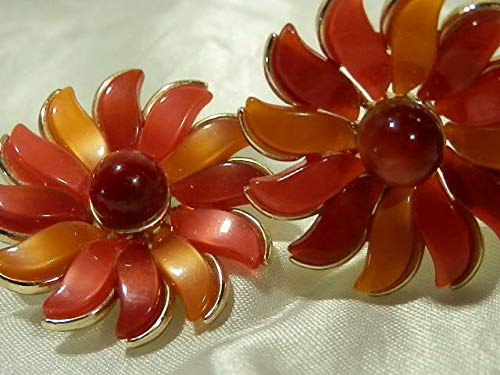 Lisner Signed Orange Hues Moonglow Flower Clip Earrings PU-54