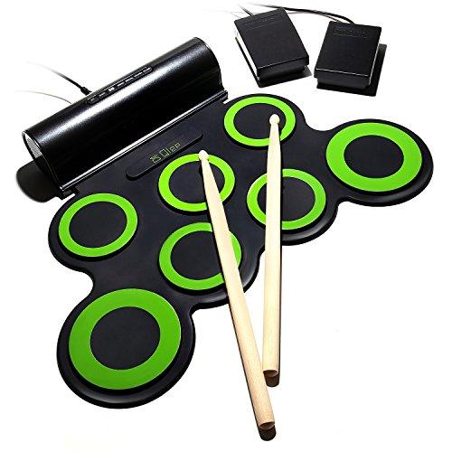 [해외] Qlep 전자 드럼 연습용 패드 드럼 연습 그린 DMD-01-G