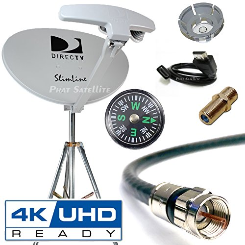 DIRECTV 4K SWM5 Complete Kit for Portable Mobile Camping RV Tailgate Trailer, Tripod, RG6 Coaxial, HDMI Cable, Slimline Dish RB SL5 for UHD GENIE H24 H25 HR34 HR44 HR54 (1 Piece, RB SWM5 RV KIT) - Dish Directv Slimline
