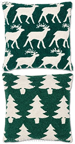 "Handmade Decorative Seasonal Winter Holiday Rudolph Reindeer Christmas Tree Hooked Throw Lodge Cabin Green Pillow Pair. 18"" X 18"" Each."