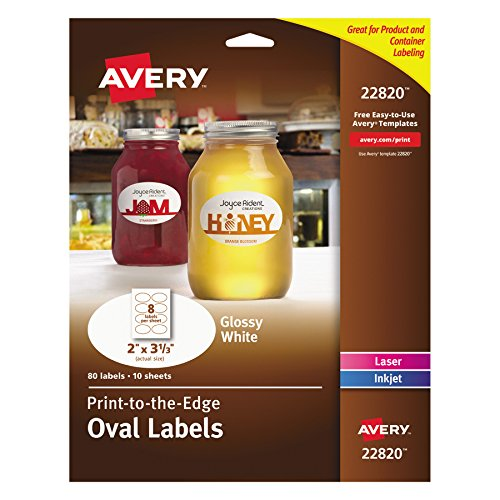 Avery Print-To-The-Edge Glossy Oval Labels - True Print - 2