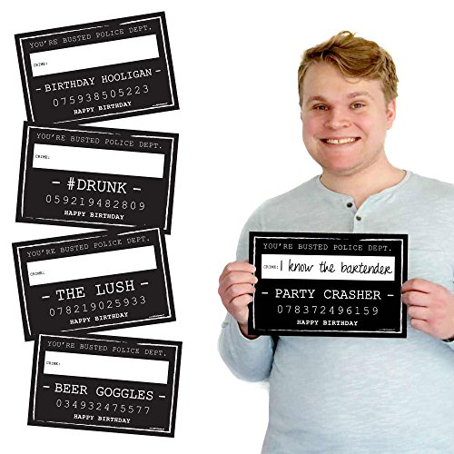(Big Dot of Happiness Birthday Party Mug Shots - Photo Booth Props Party Mugshot Signs- 20)
