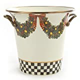 MacKenzie Childs, Evergreen Holiday / Winter Enamel Wine Cooler / Ice Bucket, Hand-Painted