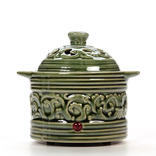 Hosley Green Electric Potpourri Warmer. Ideal Gift for Wedding, Special Occasions, Spa, Aromatherapy, Reiki, Meditation Settings and Home Office O4