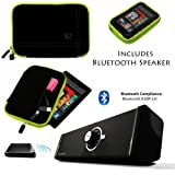 Drum BLACK with GREEN Edge and Back Pocket Carrying Sleeve For Samsung Galaxy Tab 3 Android Tablet 7-inch Display Thinner Bezel + Supertooth Disco Bluetooth Speaker with AUX Cable