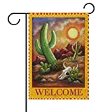 ALAZA Welcome Green Columnar Cactus Cacti Desert Double Sided House Flag Garden Banner 28'' x 40'', Wild Cactus Antelope Skull Summer Flowers Garden Flags for Anniversary Yard Outdoor Decoration