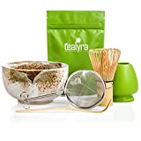 Tealyra - Matcha Tea Ceremony Start Up Kit - Complete Matcha Green Tea Gift Set - Premium Matcha Powder - Japanese Made Beige Bowl - Bamboo Whisk and Scoop - Holder - Sifter - Gift Box