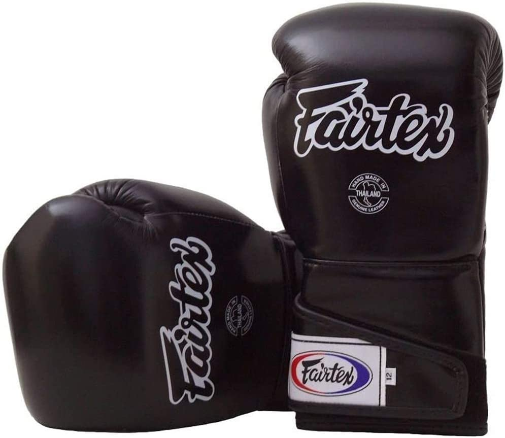 Wearable Baby Boxing Gloves BLACK BFC With Blue Cuff