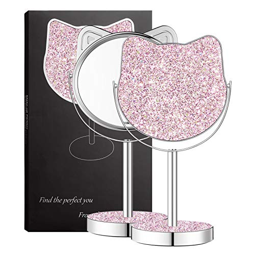 Makeup Mirrors for Teenage Girls,DERUI CREATION Glittering Sequins Vanity Mirror Makeup for Teens Mirror Easter Gifts…