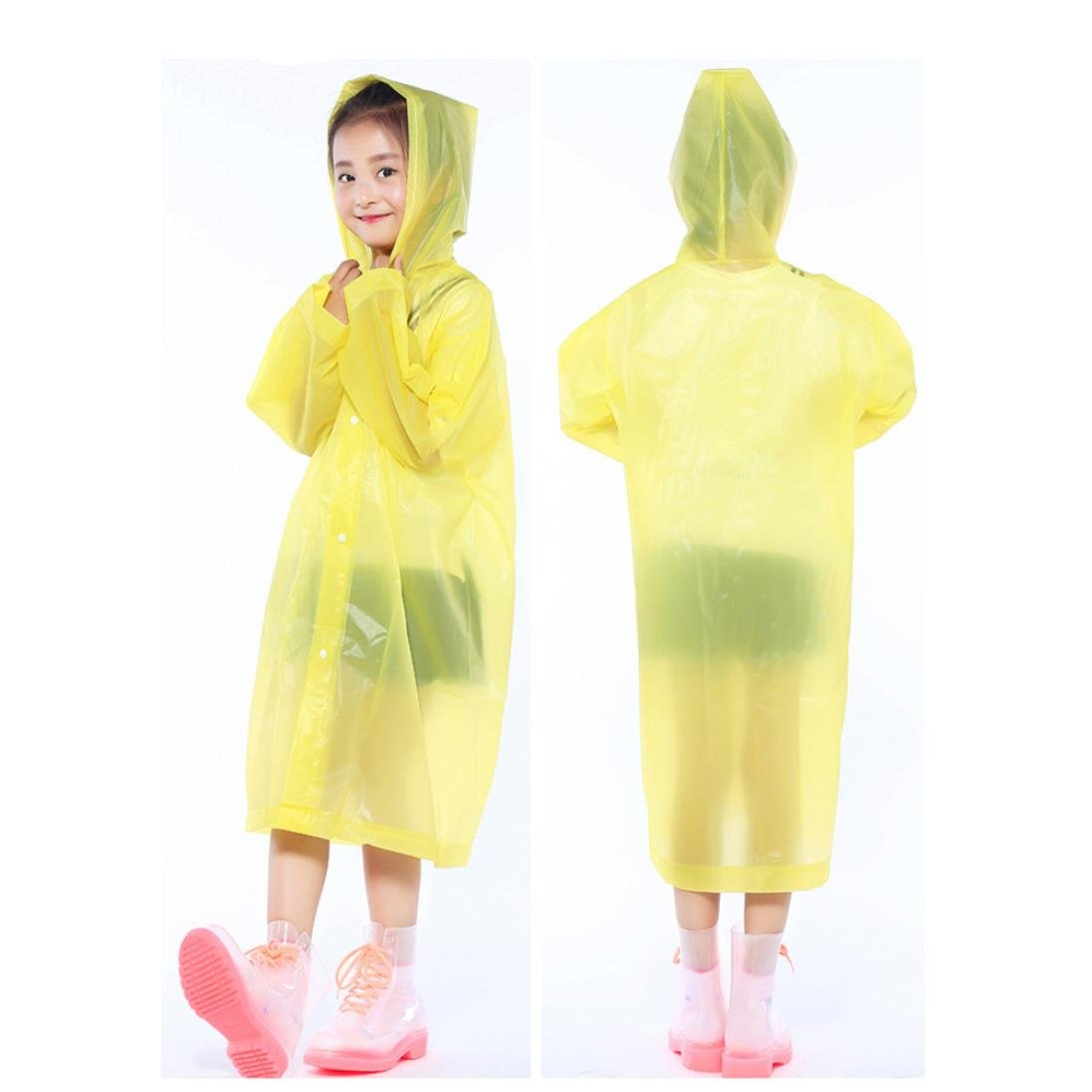 Tpingfe Portable Reusable Raincoats Children Rain Ponchos For 6-12 Years Old, 1PC (Yellow) by Tpingfe (Image #2)