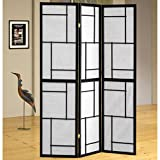 Sarai 3 Panel Folding Screens Room Divider in Black/White Finish 70.25'' H x 54'' W x 0.75'' D in.