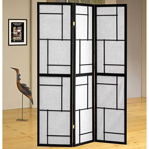 Sarai 3 Panel Folding Screens Room Divider in BlackWhite Finish