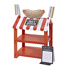 Talking Tables Street Stalls Mini Card Hotdog and Popcorn Stand, Red and White(STALL-HOTDOG)
