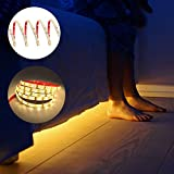 LEBRIGHT Motion Activated Bed Light,1.5m Flexible LED Strip Motion Sensor Night Light Bedside Lamp Illumination with Automatic Shut Off Timer (3000k Warm White/Single Strip)