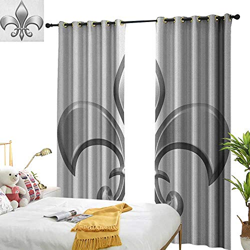 WinfreyDecor Insulated Sunshade Curtain Fleur De Lis Lily Flower Symbol Nobility of Knights in Medieval Time European Iris Icon Darkening and Thermal Insulating W84 x L108 White ()