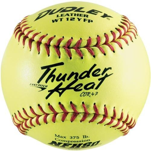 Dudley NFHS Thunder Heat Leather 12-Inch Yellow Fast Pitch Softball, .47/375-Pounds, Red Stitch by Dudley ()