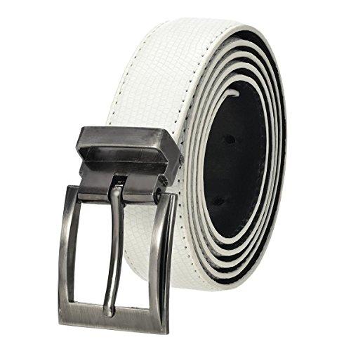 Lizard Dress Belt (Faux Lizard Adjustable Belt with Nickel Buckle - White)