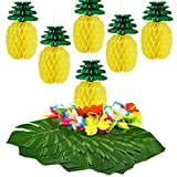 KUUQA 66 PCS Tropical Luau Party Decoration, 6 PCS Tissue Paper Pineapples with 30 PCS Tropical Leaves 30 PCS Hibiscus Flowers for Hawaiian Flamingo Pineapple Aloha Party Decorations Supplies