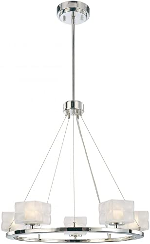 George Kovacs P1455-613, Squared Glass Chandelier Light, 5 Light Halogen, Polished Nickel