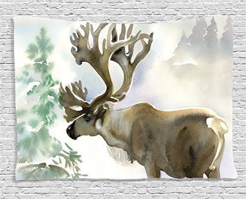 Ambesonne Antlers Tapestry, Moose in Winter Forest Wildlife Reindeer Christmas Theme Watercolor Painting Style, Wide Wall Hanging for Bedroom Living Room Dorm, 60