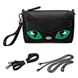 Image of BMC Faux PU Leather Small Cute Kawaii Boxy Animal Kitty Face Zippered Crossbody Handbag Clutch Wristlet for Kids and Adults - Black Cat