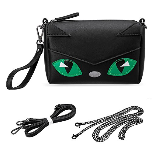 BMC Cute Kitty Animal Face Purse for Girls Teens Women Cosplay - 3 Detachable Straps for Casual Crossbody Bag, Clutch Wristlet, Evening Shoulder Handbag - PU Faux Leather - Black Cat Design