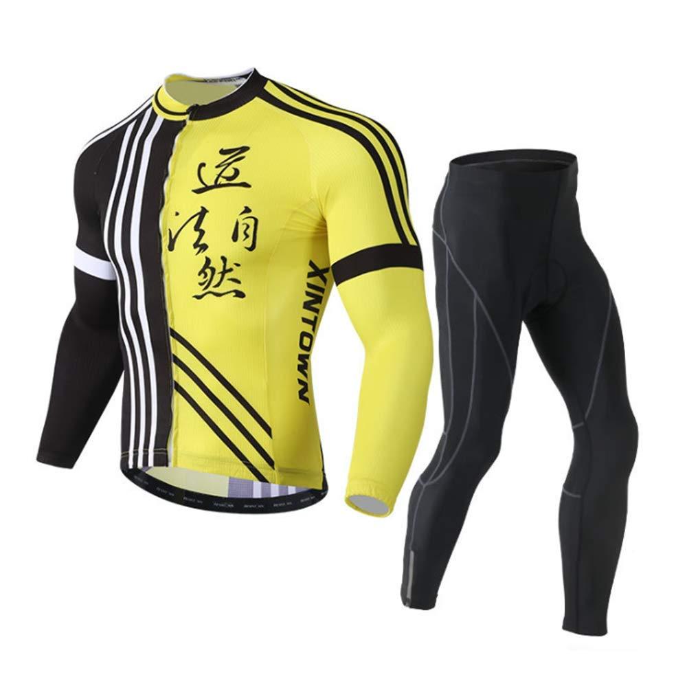 Zmcong Traje de Ciclismo Traje de Manga Larga, Traje de Bicicleta, Pantalones Que absorben la Humedad y Secado rápido, Conjunto de Ropa de Ciclismo para Hombre,A,M