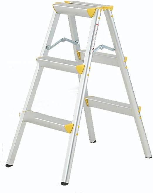 LIZITD Taburete de Escalera, aleación de Aluminio Amarilla Simple Estilo Europeo, Escalera 2, 3, Escalera de ingeniería multifunción de Pedal de Espesamiento portátil de Doble función de 4 Pasos: Amazon.es: Hogar