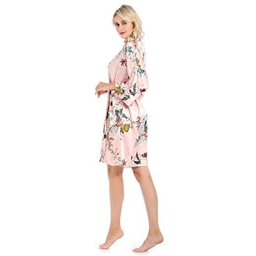 Home + Bathrobe Vestido De Impresión Rosado para Mujer ...