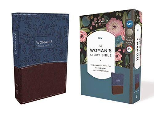 Niv  The Womans Study Bible  Leathersoft  Blue Brown  Full Color Receiving Gods Truth For Balance  Hope  And Transformation