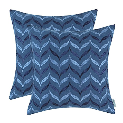 Pack 2 CaliTime Cushion Covers Throw Pillow Cases Shells 18 X 18 Inches,  Soft Faux Suede Embroidered, Leaves Chevron, Sea Blue