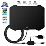 ETeck Digital TV Antenna, 50+ Miles Long Range Indoor HDTV Antenna With Detachable Signal Amplifier Booster and 16.5FT 1080P High Performance Coaxial Cable USB Antenna TV - Black