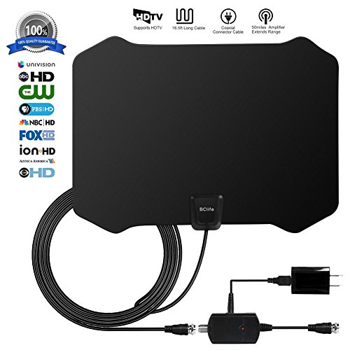 ETeck Digital TV Antenna, 50+ Miles Long Range Indoor HDTV Antenna With Detachable Signal Amplifier Booster and 16.5FT 1080P High Performance Coaxial Cable USB Antenna TV - Black Digital Hdtv Receiver