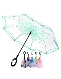Transparent Cherry Blossom Inverted Umbrella Cars Reverse Umbrella, Windproof UV Protection Big Straight Umbrella for Car Rain Outdoor With C-Shaped Handle