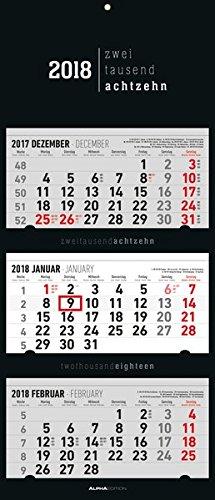 3-Monatskalender 2018 faltbar, Black