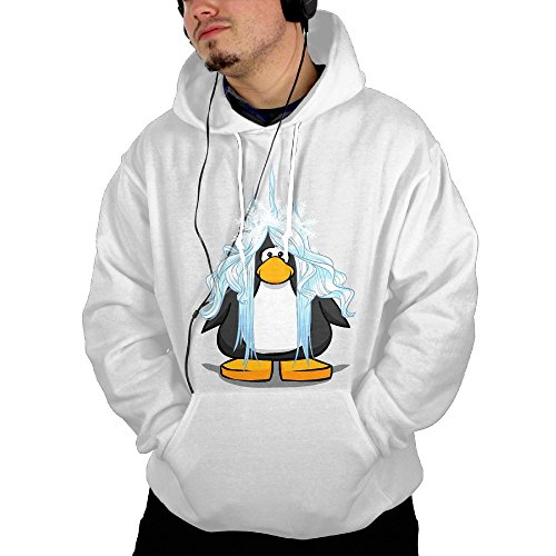 Pullover Hoodie With Long Fat Penguin For Men Sweater Pockets (White Great Saltwater Bow Series)