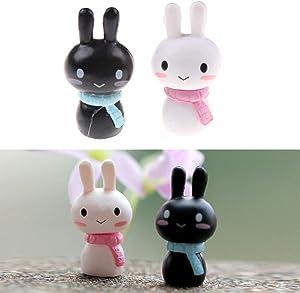 ZAMTAC 1pair Kawaii Rabbit Cartoon Miniature Resin Rabbit Fairy Garden Decor Ornament Pot Micro Landscape Bonsai DIY Dollhouse