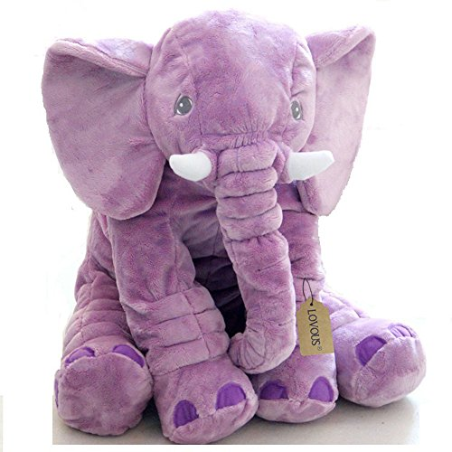 New LOVOUS Super Soft Cute Big Stuffed Elephant Plush Doll Pillows, Baby Elephants Toys (Purple)