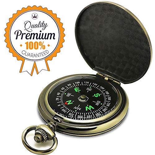 ydfagak Compass Premium Portable Pocket Watch Flip-Open Compass Camping Hiking Compass Outdoor Navigation Tools ()